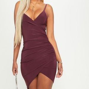 Shape Burgundy Ruched side strappy Bodycon Dress